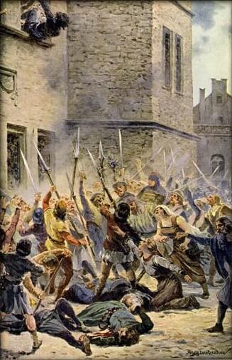 I defenestracja praska (1419) naobrazie Adolfa Liebschera.