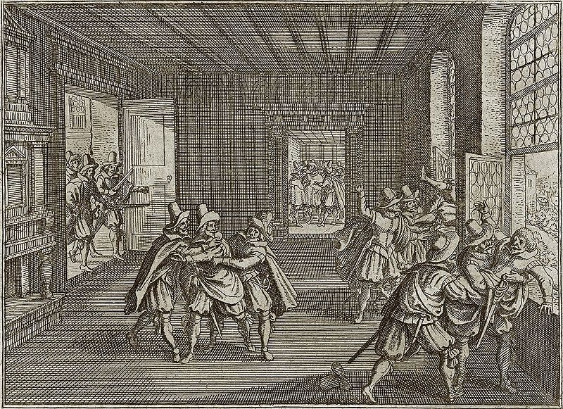II defenestracja praska (1618) - rycina zTheatrum Europaeum.