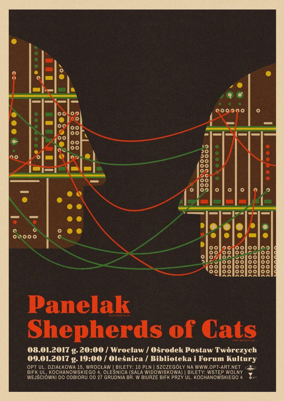 Shepherds of Cats & Panelak - plakat zapowiadający koncert