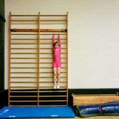 Kilkuletnia dziewczynka w różowym kostiumie ćwiczy na drabince gimnastycznej.